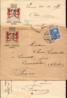Lettre D Autriche, Wien, Hotel Bristol Pour La France, Lavalette, Carcassonne, Aude, 1909 (etat Voir Photo) - 1920-1936 Coil Stamps I