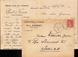 Lettre De Dax, Landes, Grand Café De L Europe Paul Nassiet Pour Paris, 1929 (bon Etat) - 1921-1960: Modern Period