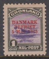 1945. DANMARK BEFRIET 5 MAJ 1945 Overprint. 1 Øre Olive/violet Seal On An Ice-floe. R... (Michel 17) - JF418423 - Gebraucht