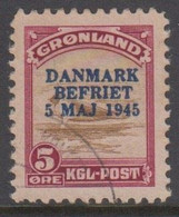 1945. DANMARK BEFRIET 5 MAJ 1945 Overprint. 5 Øre Wine Red/brown Seal On An Ice-floe.... (Michel 18) - JF418424 - Gebraucht