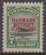 1945. DANMARK BEFRIET 5 MAJ 1945 Overprint. 7 Øre Green/gray Seal On An Ice-floe. Red... (Michel 19) - JF418425 - Gebraucht