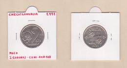 CHECOSLOVAQUIA  2 CORONAS 1.991 KM#148  CU-NI  MBC+/VF+   DL-12.753 - Tschechoslowakei