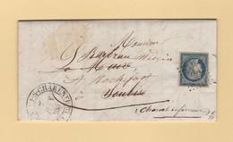 Chateauneuf Sur Charente - 15 - Charente - Pc 790 - 1852 - Lettre Adresse A Soubize Reexpediee - Cursive Au Dos - 1849-1876: Classic Period