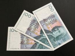 SWEDEN 100 KRONOR BANKNOTES 1986 UNC P-57a 3 PCS CONSECUTIVE NUMBERS - Sweden
