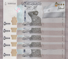 SYRIA 5000 POUNDS LIRA 2019 20121 P- NEW LOT X5 UNC NOTES - Syria