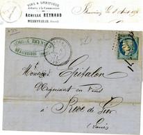 BOITE RURALE GARD LAC 1871 GENERAC GC SUR N°60 DFT + T24 + BOITE RURALE A = BEAUVOISIN  ( INDICE GC= 13 COTE 110 EUROS ) - 1849-1876: Classic Period