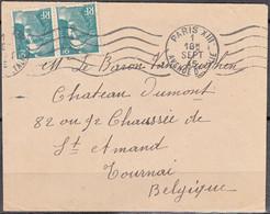 """Enveloppe  De 75 PARIS XIII 1945   Pour TOURNAI Belgique  Avec Mne DE GANDON 2f Vert  """" La PAIRE """" Pour Un BARON - 1945-54 Marianne Of Gandon"""