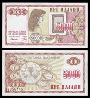 ♛ MACEDONIA - 5.000 Denari 1992 {Narodna Banka Na Makedonija} UNC P.7 - Macedonia