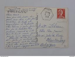Cachet Hexagonal Pointillé Sur Carte De Colomars - Vallée Du Var Envoyée Vers Blankenberge ... Lot44 - 12012020 . - 1921-1960: Periodo Moderno