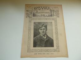 """Origineel Knipsel ( 3908 ) Uit Tijdschrift """" Ons Volk """"  1920 :  Joe English  Brugge  Vinkem  Veurne - Zonder Classificatie"""