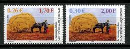 SPM MIQUELON 2001 N° 741/742 ** Neufs MNH Superbes C 2.40 € Agriculture Foins Chevaux Horses Charrette Animaux - Unused Stamps