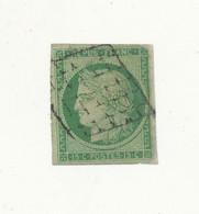 FRANCE 1849 - Cérès 15 Cts Vert YT N° 2 ° Oblitéré Grille - Etat : Réparé Marge Refaite Voir Scan - Cote 1100€ - 1849-1850 Ceres