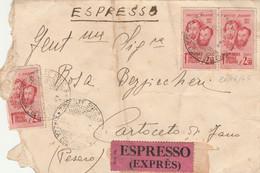 ESPRESSO RSI 1945 (parzialmente Strappato) 2X2,50 F.LLI BANDIERA INTEGRI TIMBRO TRIESTE  PESARO ARRIVO (HC965 - Marcofilía