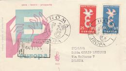 FDC VIAGGIATO RACCOMANDATO 1958 EUROPA 25+60 L. (HC1000 - FDC