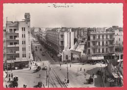 CPSM- TUNIS- Ann.50- Place Anatole France Et Av De Paris* Scan Recto/Verso - Tunisia