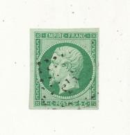 FRANCE - Empire Non Dentelé 5 Centimes Vert Oblitéré YT N°12 - Etat : Très Beau Voir Scan - 1853-1860 Napoléon III.