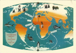 GROENLAND - GRONLAND - ADVERTISING POSTCARD - LA VERIANE BURIAT - DU POLE NORD AU POLE SUD - 1958 - Greenland