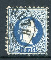 Austrian Levant 1867-83 - Lombardy & Venetia Currency - Fine Print - 10s Blue Used (SG 11) - Otros