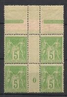 France - 1898 - N°Yv. 102 - Type Sage 5c Vert-jaune Type I - Bloc De 4 Millésimé 0 - Neuf Luxe ** / MNH / Postfrisch - 1876-1878 Sage (Tipo I)