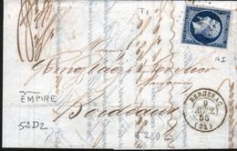 Y & T N°14 (I) Sur Lettre De Bergerac, Planché 52D2, Voir Repère ( Tache Blanche Entre Le E Et Le M De EMPIRE) - 1849-1876: Klassik