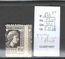 France - Yvert 644**- Marianne D'Alger - Piquage à Cheval - 4f50 Noir - Varieties: 1945-49 Mint/hinged