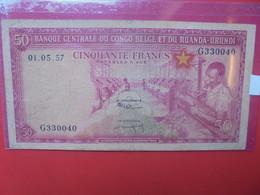 CONGO BELGE 50 Francs 1957 CIRCULER (B.22) - Belgian Congo Bank