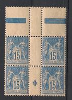 France - 1898 - N°Yv. 101 - Type Sage 15c Bleu Type II - Bloc De 4 Millésimé 0 - Neuf Luxe ** / MNH / Postfrisch - 1898-1900 Sage (Tipo III)