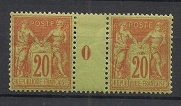 France - 1884 - N°Yv. 96 - Type Sage 20c Brique - Paire Millésimé 0 - Neuf Luxe ** / MNH / Postfrisch - 1876-1898 Sage (Tipo II)