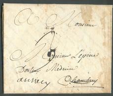 LAC De MOUTIERS Le 25 Décembre 1771 (griffe Manuscrite ) Vers Chambéry (biffé) Et Renvoi VersANNECY (docteur Médecin L - 1701-1800: Voorlopers XVIII