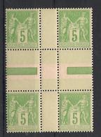 France - 1898 - N°Yv. 106 - Type Sage 5c Vert-jaune - Bloc De 4 Interpanneau - Neuf Luxe ** / MNH / Postfrisch - 1898-1900 Sage (Tipo III)