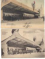 "2 PK EXPOSITION DE LIEGE 1905-EXPOSITIE LUIK 1905 "" STAND WAGONS -LITS  "" CP COLORE N°33 - Materiaal"