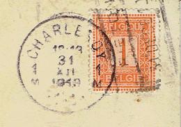 Double Oblitération Charleroy Et Piéton (ferroviaire) Du 31/12/1919 Sur Timbre COB N° 108 - Unclassified