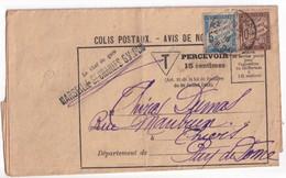 1918 - TAXE DUVAL Sur AVIS De NON DISTRIBUTION De COLIS POSTAUX ! THIERS (PUY DE DOME) => MARSEILLE - CHEMINS DE FER PLM - Postage Due Covers