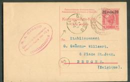 E.P. Carte 20 Para Sur 10h. Obl. Dc CONSTANTINOPOLI 6-X 1909 Vers Bruges (Belgium) -17897 - Eastern Austria