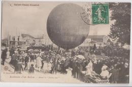 """CPA - 93 - SAINT-OUEN - ASCENSION D'un BALLON """"Saint-Ouen Illustré"""" Avant Le Lachez-tout - TOP COLL Voy En 1911 - Aeronaves"""