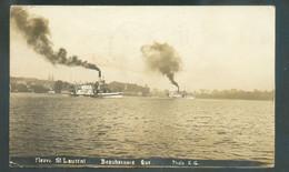 PPC Photo Fleuve Saint-Laurent Beauharnais Que. (2 Bateaux à Vapeurs), From MONTREAL 4 Nov. 1913 To Cappellen (Belgium). - Montreal