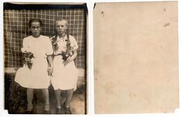 1950s Original 12x9 Photo Vintage Teenager Child Girl Dress Teenager Flowers USSR Russia (4526 - Persone Anonimi
