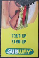 ISRAEL SUBWAY SANDWICH BEVERAGE FOOD CULINARY ADVERTISING AD NOTICE ANNOUNCEMENT CARTE POSTCARD PC CARTOLINA CARD PHOTO - Israele
