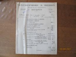 SAINT-QUENTIN ENTREPRISE A. DEHON 19-21-23 RUE DE LA SOUS-PREFECTURE FACTURES DU 25 OCTOBRE 1943 ET DU 31 DECEMBRE 1943 - 1900 – 1949