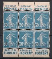 France - 1924-26 - N°Yv. 192b - Semeuse 30c Bleu - Bloc De 6 - Pub Meunier / Florent - Neuf Luxe ** / MNH / Postfrisch - Nuevos