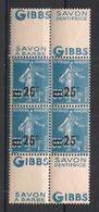 France - 1926-27 - N°Yv. 217d - Semeuse - Bloc De 4 - Double Pub Gibbs - Neuf Luxe ** / MNH / Postfrisch - Nuevos