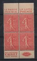 France - 1924-32 - N°Yv. 199a - Semeuse 50c Rouge - Bloc De 4 - Pub Phenix / Calvet - Neuf Luxe ** / MNH / Postfrisch - Nuevos