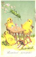 Jumping Grasshopper, Eating Chicks, Pre 1940 - Easter