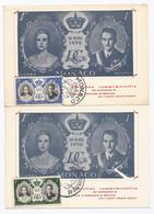 Monaco 2 Postkaarten Tgv. Huwelijk Prins Rainier En Grace Kelly In 1956 (1076) - Covers & Documents
