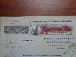 FACTURE - 69 - DEPARTEMENT DU RHÔNE - LYON 1914 - MATERIEL VINICOLE : MARMONIER FILS - Non Classés