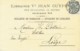 CP/PK Publicitaire BRUGGE 1910 - Vve JEAN CUYPERS - Boekhandel BRUGES - Brugge