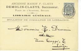 CP/PK Publicitaire BRUGGE 1902 - ANCIENNE MAISON F. CLAEYS - DEMOLIN-CLAEYS, Successeur - Boekhandel Place De L'Académie - Brugge