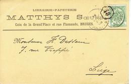CP/PK Publicitaire BRUGGE 1906 - MATTHYS Soeurs - Librairie-papeterie Coin De La Grand-Plece Et Rue Flamande BRUGES - Brugge