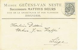 CP/PK Publicitaire BRUGGE 1908 - Entête MAISON GEUENS-VAN NESTE Successeurs MATTHYS Soeurs à BRUGES - Brugge