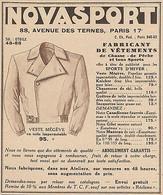 Z9659 NOVASPORT - Veste Mégève -  Pubblicità D'epoca - 1934 Old Advertising - Advertising